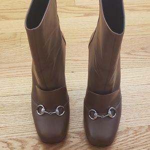 Gucci brown square toe boots